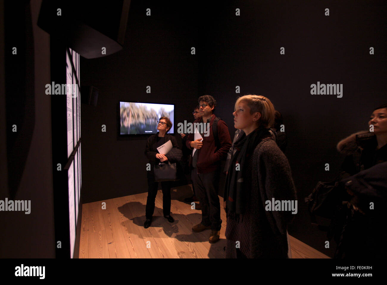 New York City, NY, USA. 3rd February, 2016. Visitors look at a series of panels representing FBI surveillance files - Stock Image