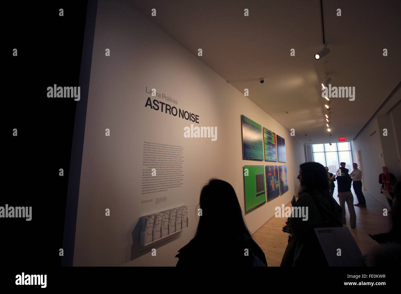 New York City, NY, USA. 3rd February, 2016. The entrance to Astro Noise, Laura Poitras'  first solo exhibition - Stock Image