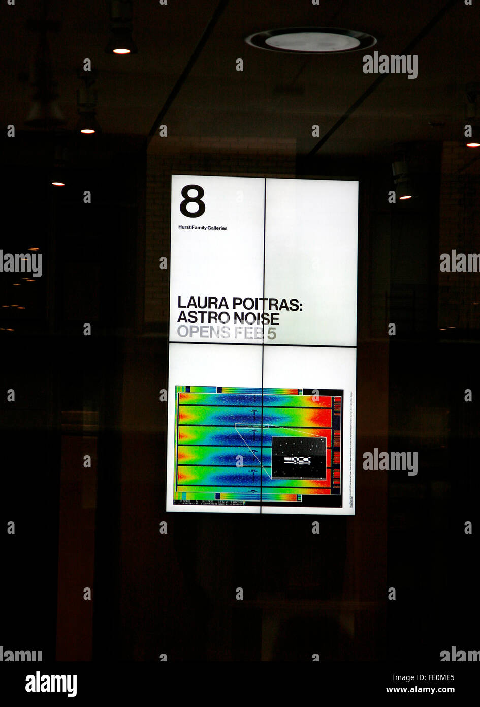 New York City, NY, USA. 3rd February, 2016. A sign for Astro Noise, Laura Poitras's first solo exhibition at - Stock Image
