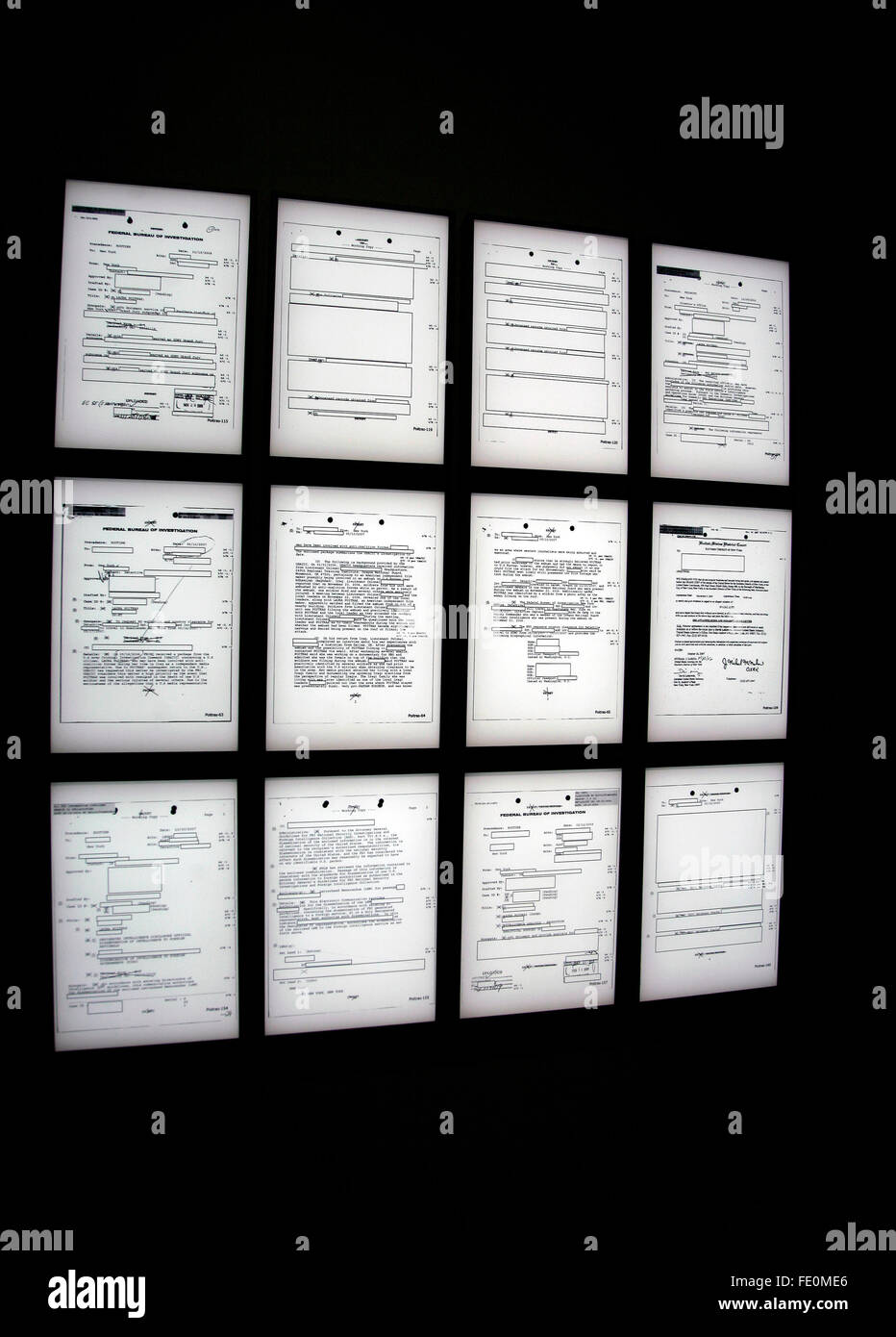 New York City, NY, USA. 3rd February, 2016. A series of panels representing FBI surveillance files on the artist - Stock Image