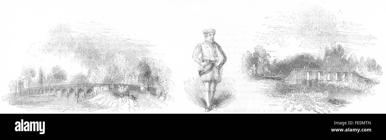 STRATFORD: Clopton's Bridge; Thomas Gresham; Mill, antique print 1845 - Stock Image