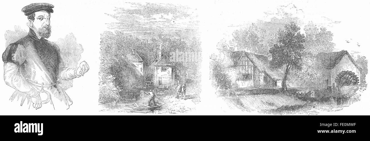NORFOLK: Thomas Gresham; Mill, Arundel; Welford, antique print 1845 Stock Photo