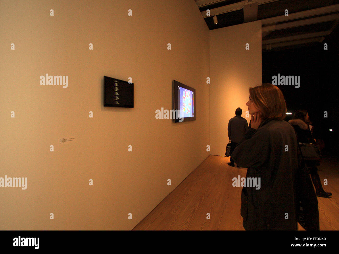 New York City, NY, USA. 3rd February, 2016. Visitors look at a display of data sniffed from their own cellphones, - Stock Image