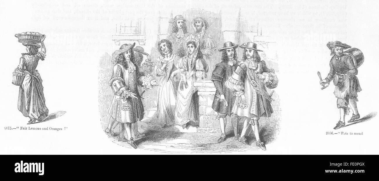 MERCHANTS: Fruit, pots; gentry costumes 1687, antique print 1845 - Stock Image