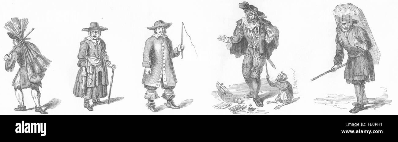 TRADES: Fishmonger, Hackney Coachman 1680, mountebank, antique print 1845 - Stock Image