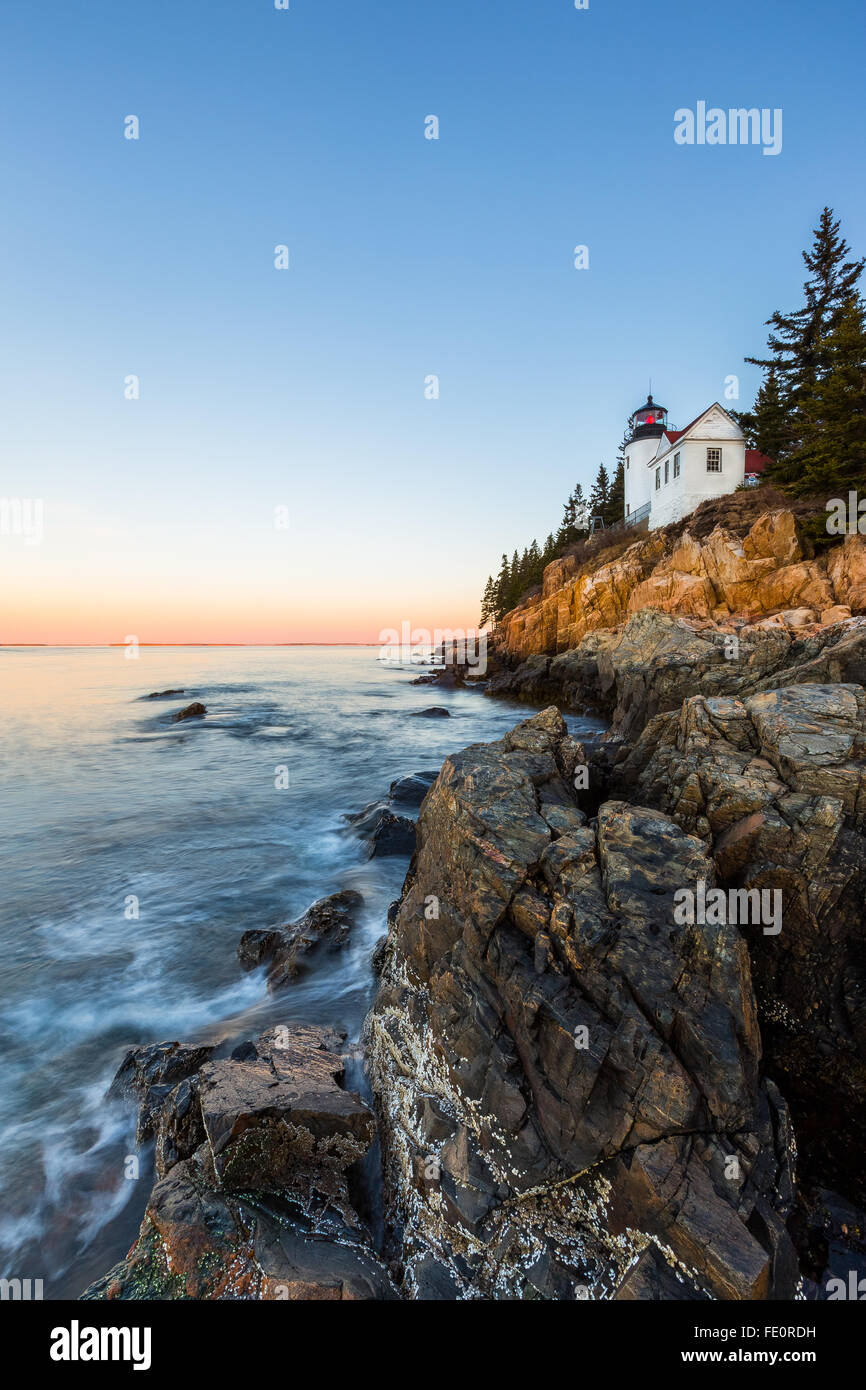 Bass Harbor Head Lighthouse under a clear sky in Acadia National Park, Mount Desert Island, Maine, New England, Stock Photo