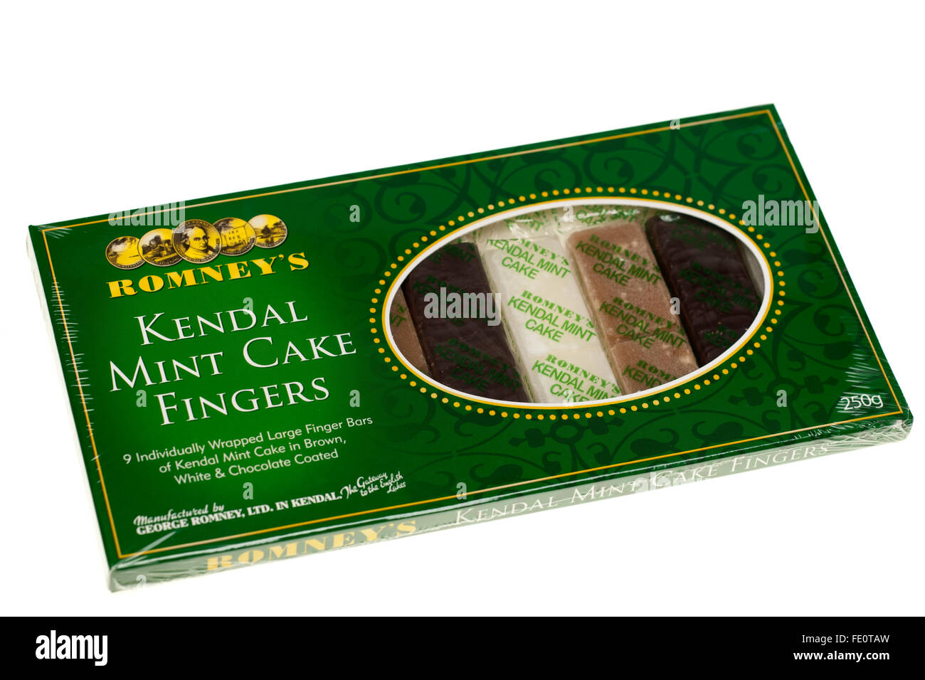 Box of individually wrapped Romneys Kendall mint cake fingers in white, brown and chocolate coated - Stock Image