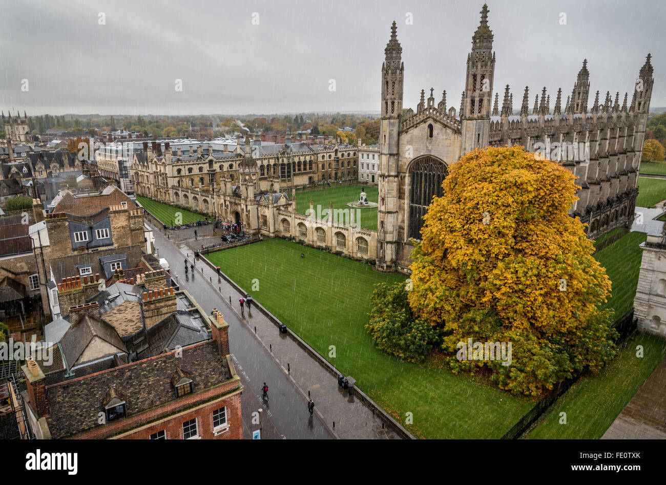 King's College, Cambridge from Great St Mary's church tower, raining - Stock Image