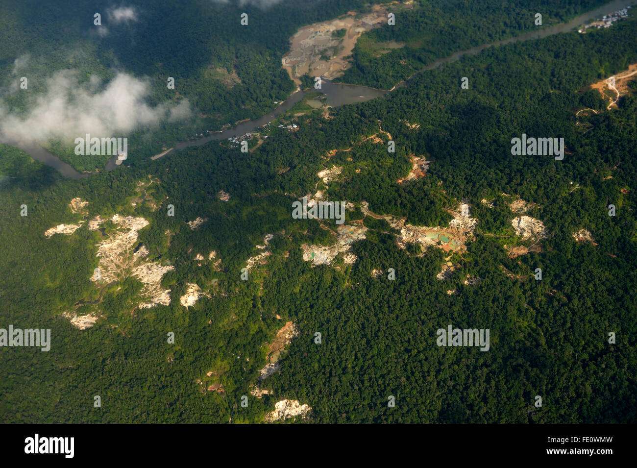 Illegal gold mines in rainforest, Chocó Department, Colombia - Stock Image