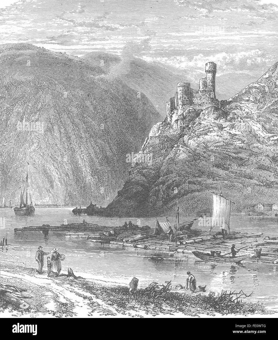 GERMANY: The Rhine below Bingen, at the Taunus Mountains. Ehrenfels castle, 1893 - Stock Image