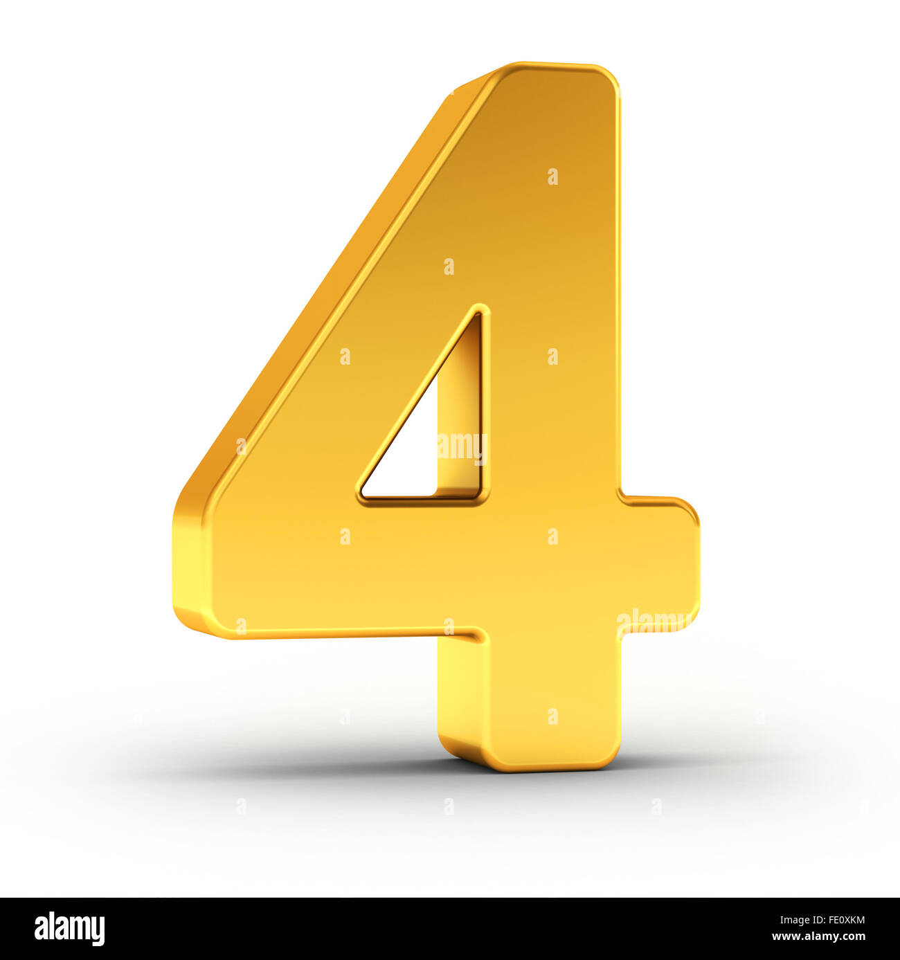 The number four as a polished golden object - Stock Image