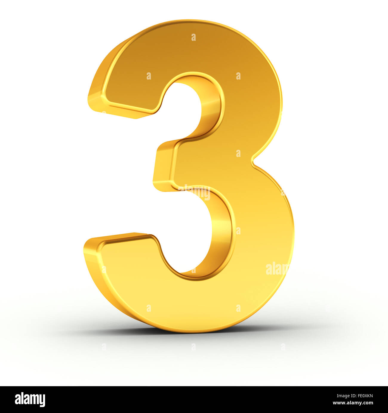 The number three as a polished golden object - Stock Image