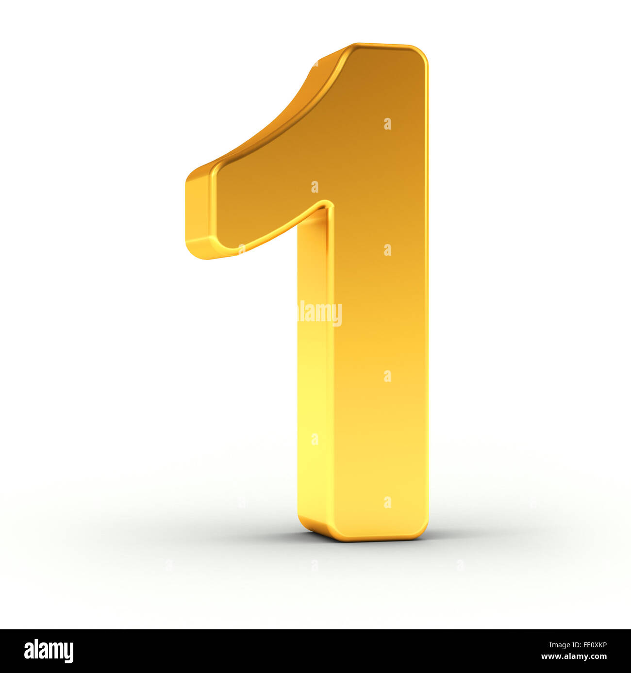 The number one as a polished golden object - Stock Image