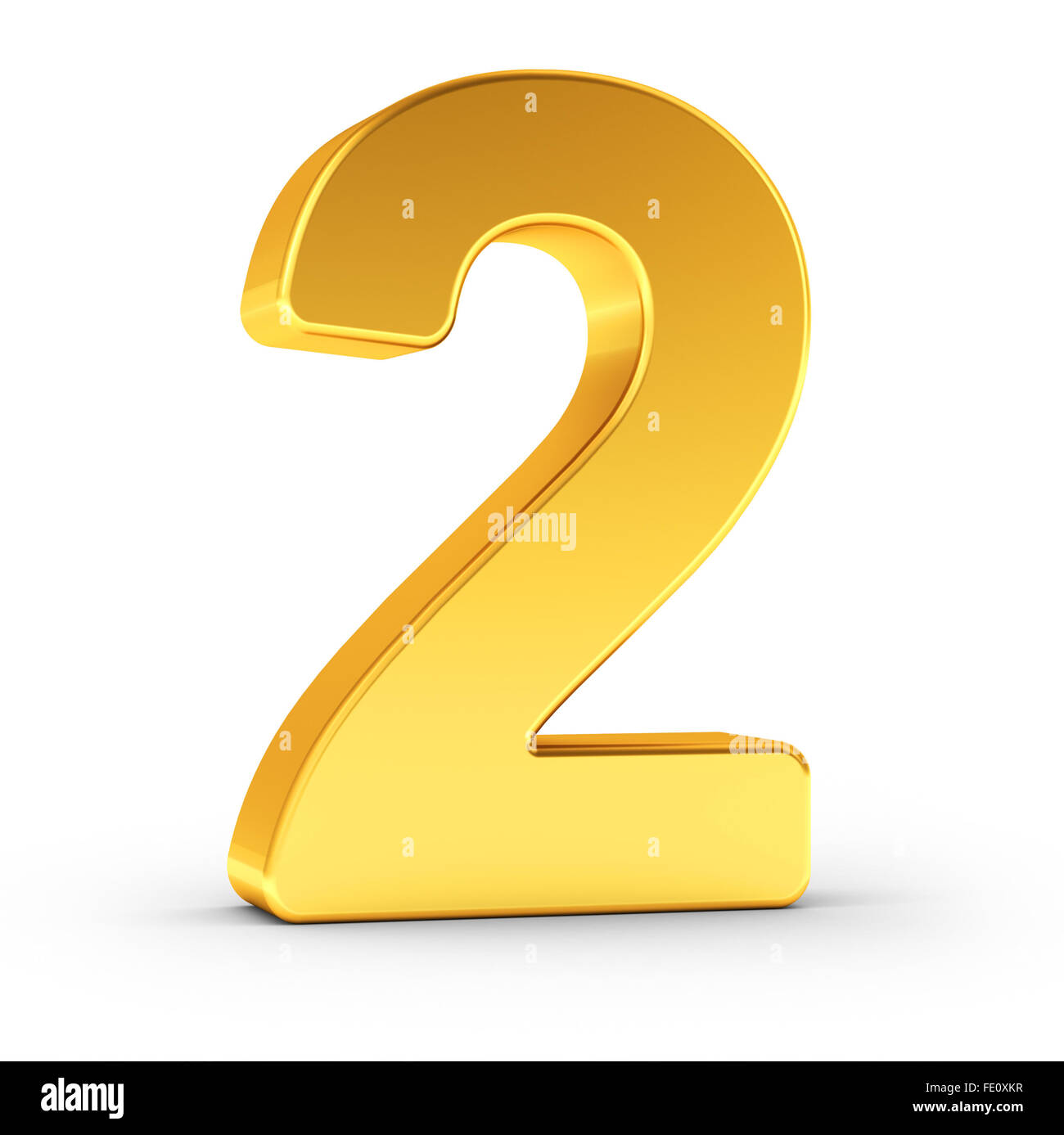 The number two as a polished golden object - Stock Image