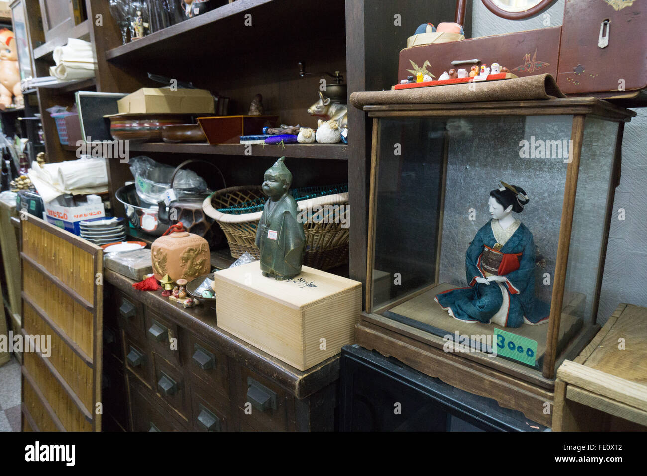 junk shop thrift store in Japan - Stock Image