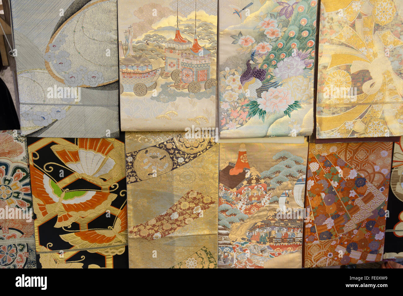 elaborate kimono fabric on display in Japan - Stock Image