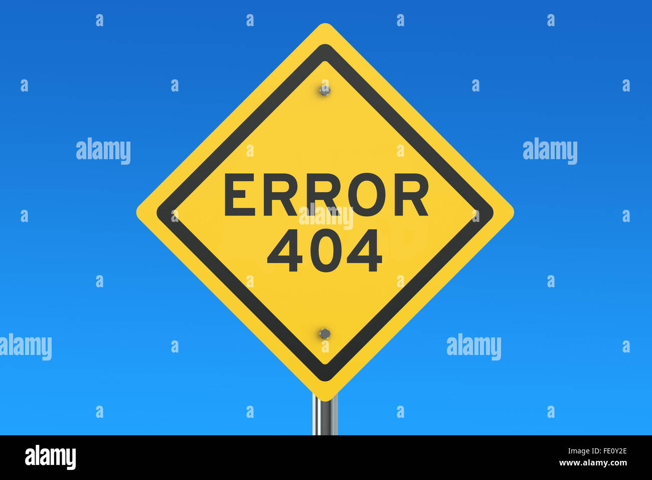 Error 404 concept on the road sign isolated on blue sky - Stock Image