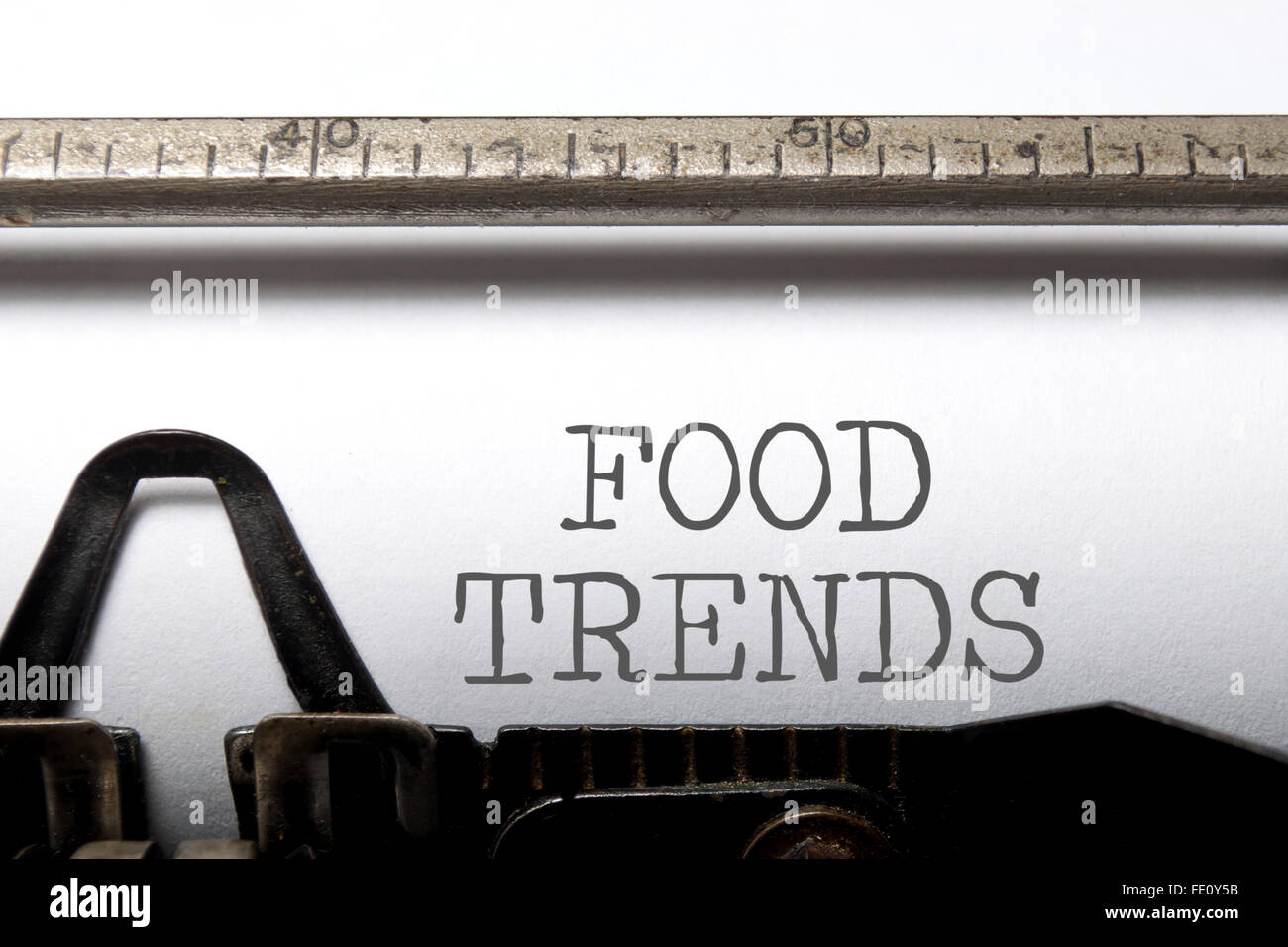 Food trends printed on an old typewriter Stock Photo