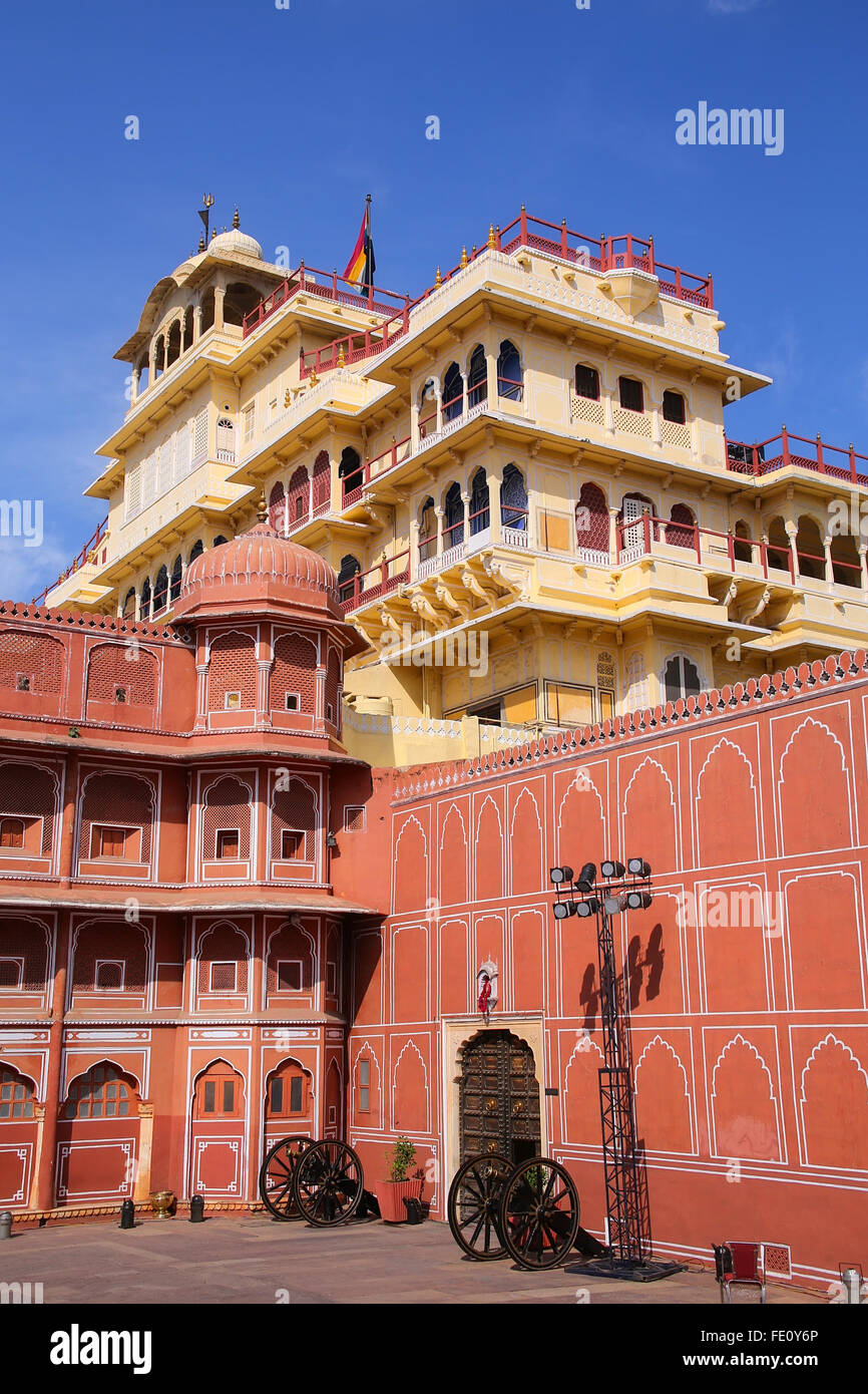 Chandra Mahal in Jaipur City Palace, Rajasthan, India. Palace was the seat of the Maharaja of Jaipur, the head of - Stock Image