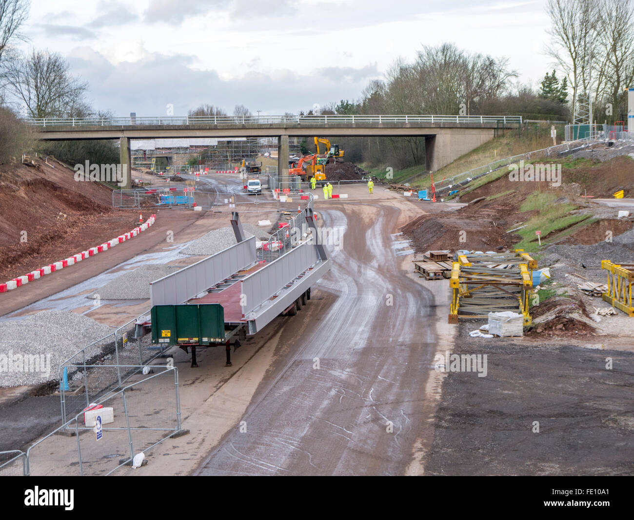 Part of a footbridge waiting to be lifted into place. - Stock Image