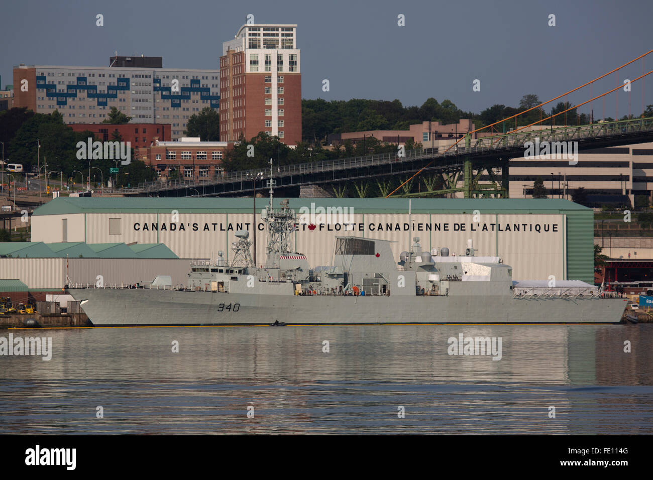 Ships of the Royal Canadian Navy in Halifax, Canada. The harbour and shipyard has long been a base for Canada's - Stock Image