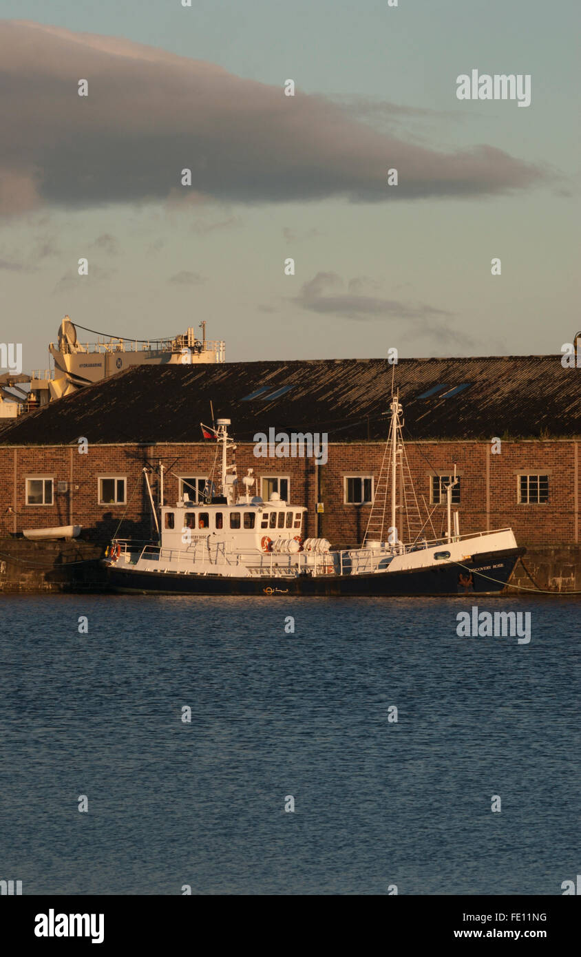 Survey Launch moored at Harbour docks, Dundee, Scotland, UK - Stock Image