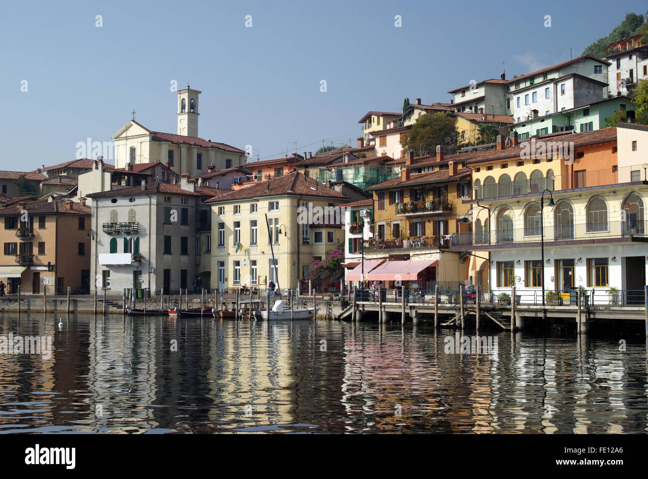 Town of Peschiera Maraglio, Iseo lake, Italy - Stock Image