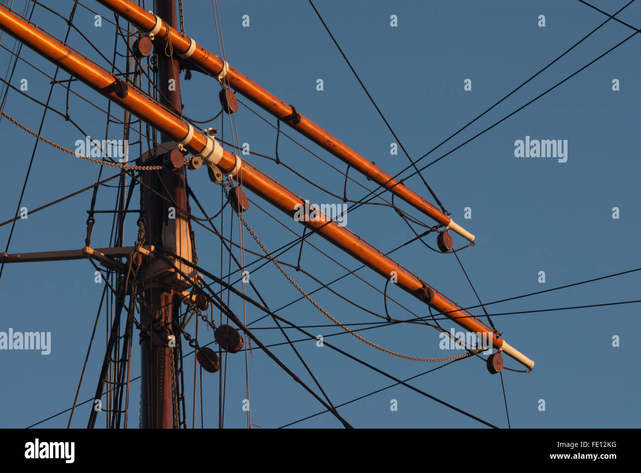 Upper mainmast joint on RRS Discovery, Discovery Point, Dundee, Scotland, UK. Stock Photo