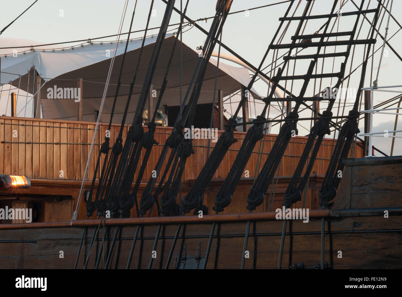 Quarterdeck of RRS Discovery seen through rigging, Discovery Point, Dundee, Scotland, UK. Stock Photo