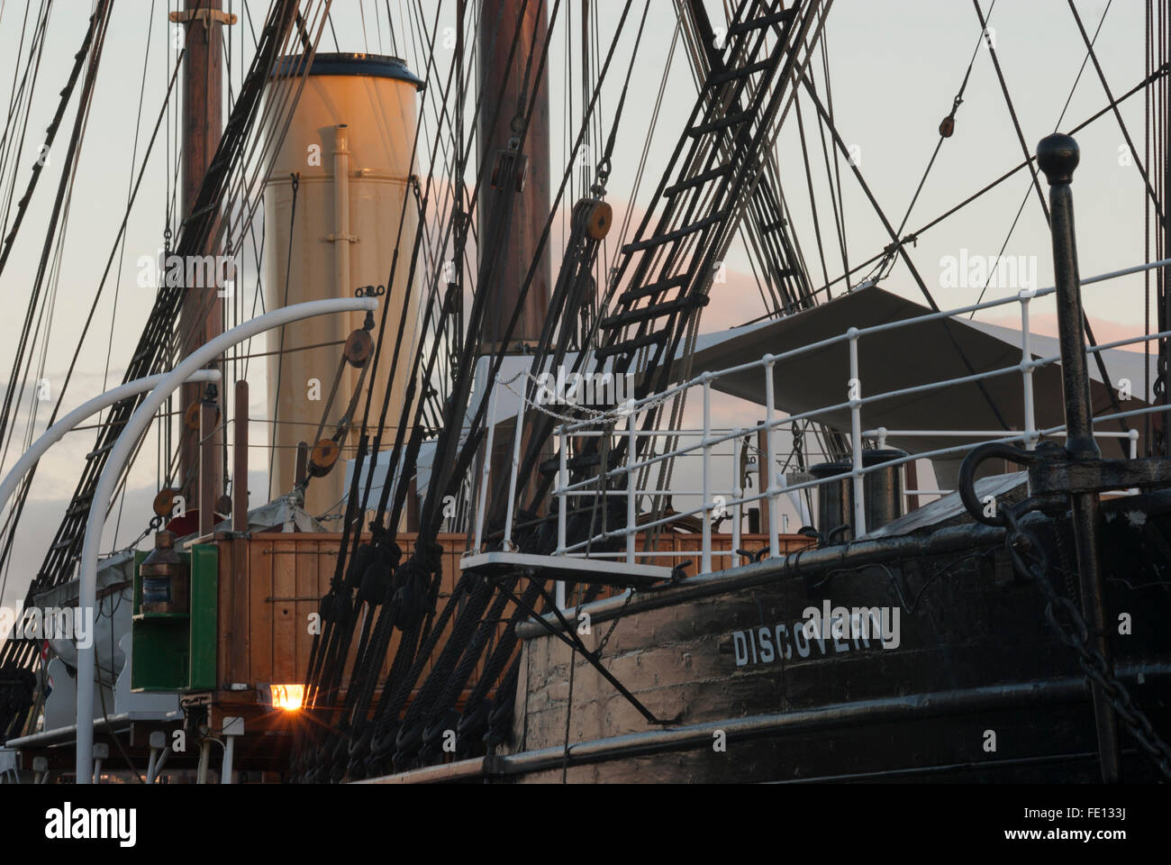 Funnel,mainmast and mizzenmast, RRS Discovery, Discovery Point, Dundee, Scotland, UK. Stock Photo
