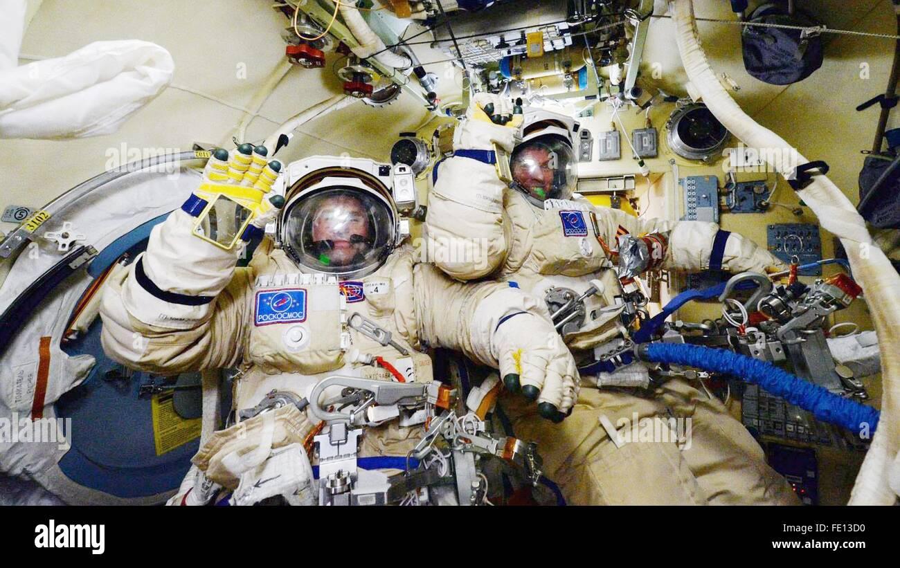 International Space Station. 3rd February, 2016. Russian cosmonauts Yuri Malenchenko (left) and Sergey Volkov in - Stock Image