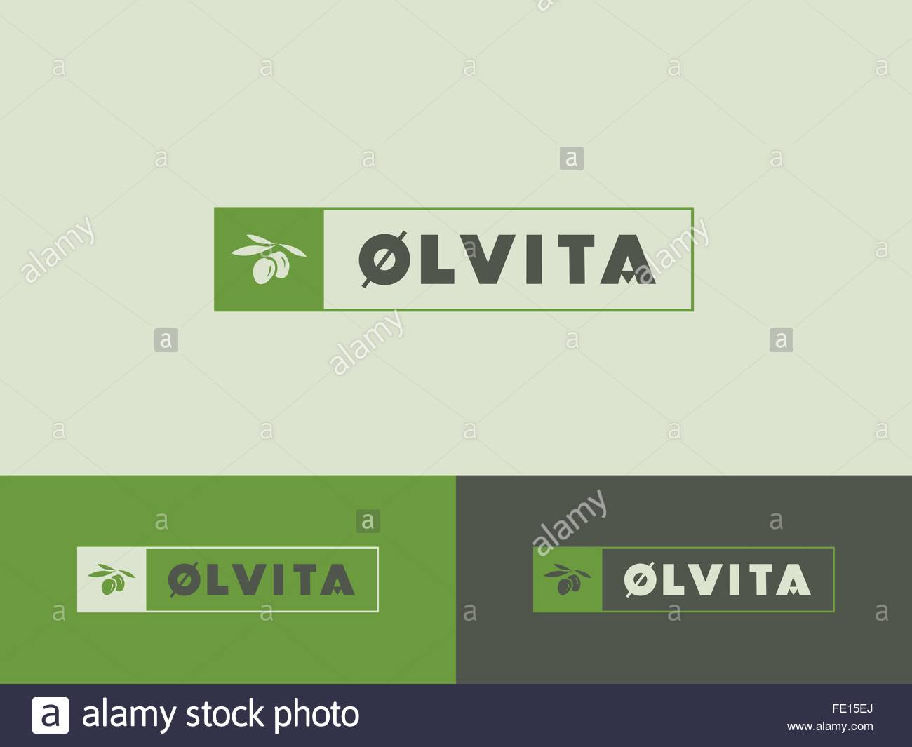 01 Food logo - Olives or olive oil branding - Stock Vector