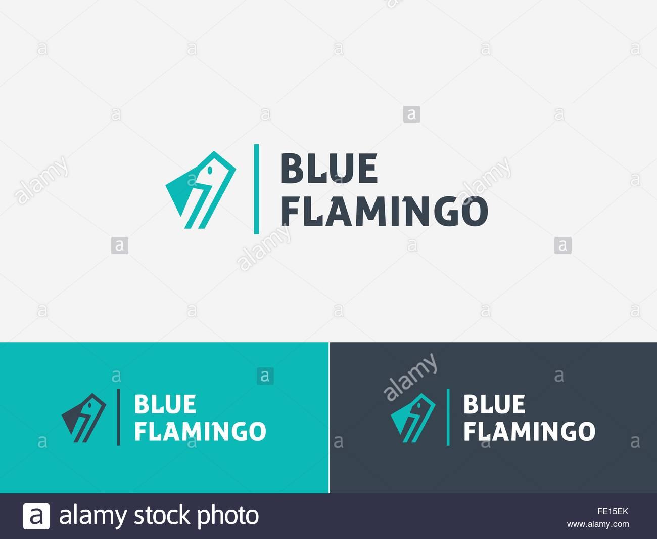 Animal logo concept, blue flamingo - Stock Image
