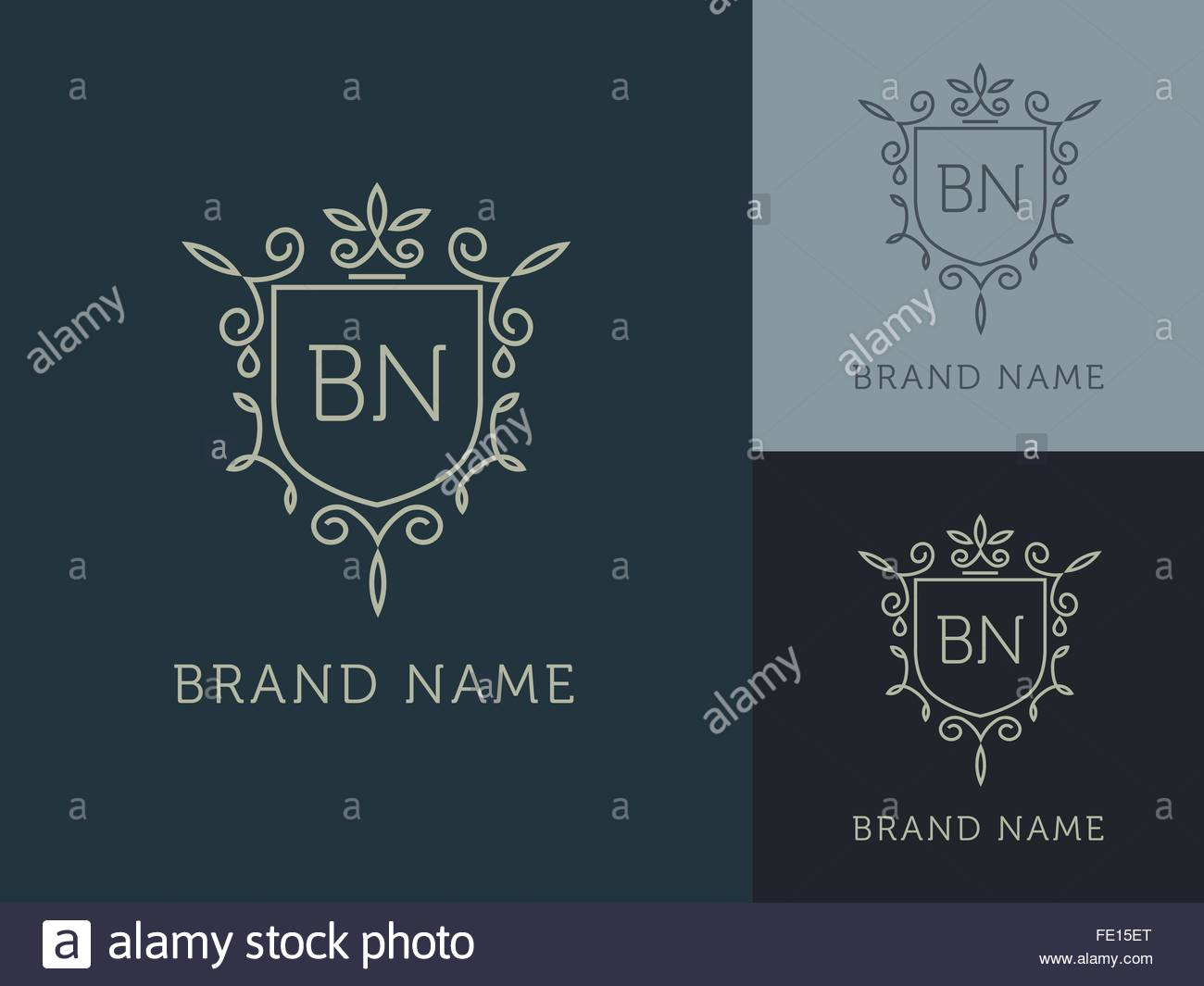 04 General logo - elegant monogram, blue - Stock Image
