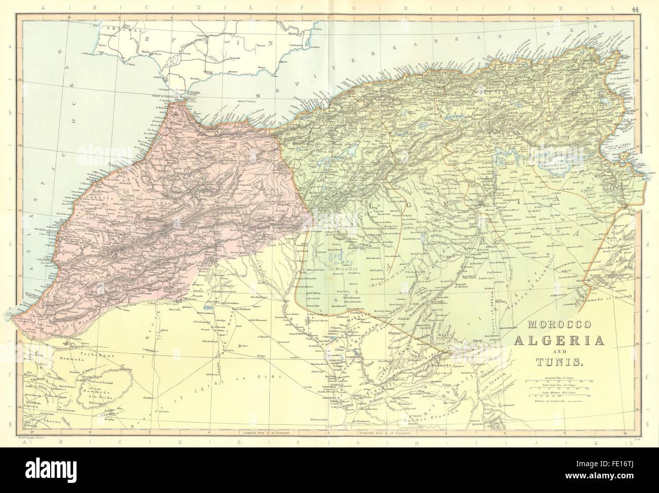 Tunisia North Africa Map.Mahgreb Morocco Algeria Tunisia North Africa Railways