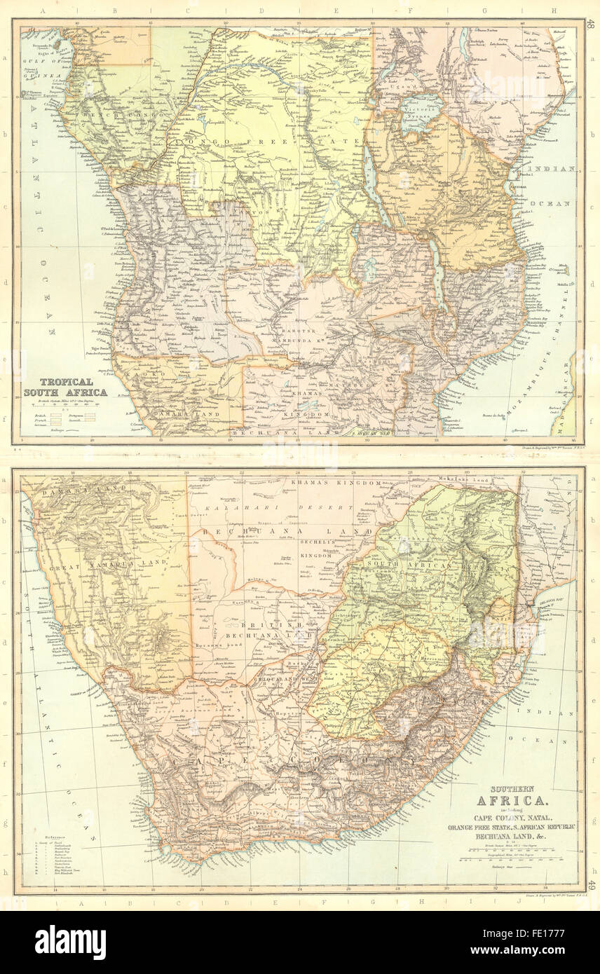 CENTRAL AFRICA: Angola Zambia Congo Uganda Tanzania. BLACKIE, 1893 antique map - Stock Image