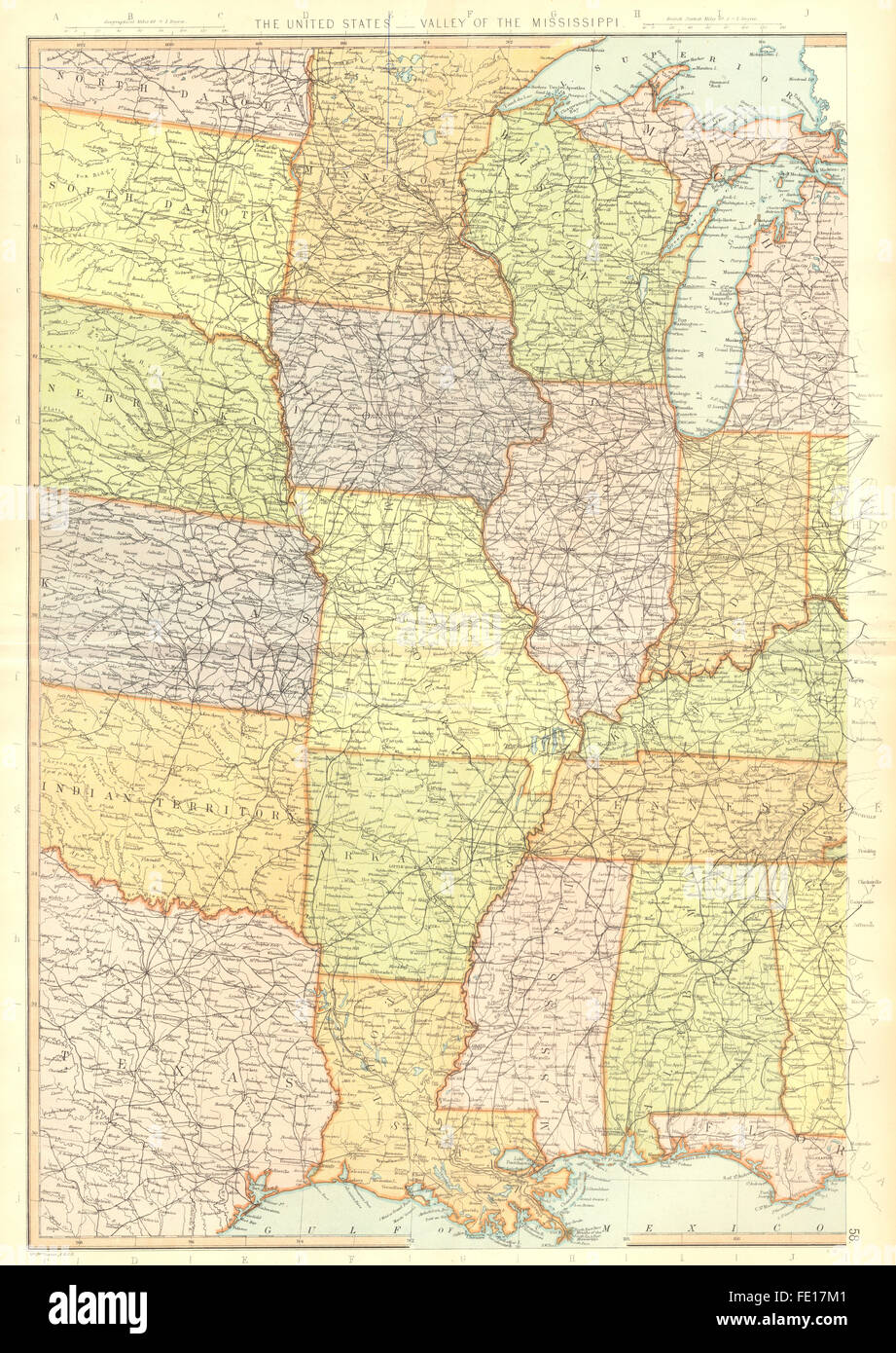 MISSISSIPPI VALLEY: USA. LA AR MO MN WI IL MS AL. BLACKIE, 1893 antique map - Stock Image