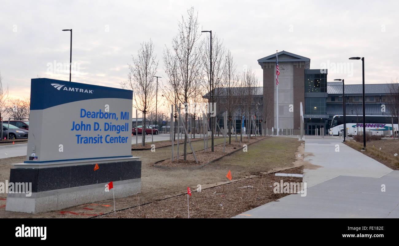 DEARBORN, MI - DECEMBER 21:  The John Dingell Transit Center, shown on December 21, 2014, was named after longtime - Stock Image
