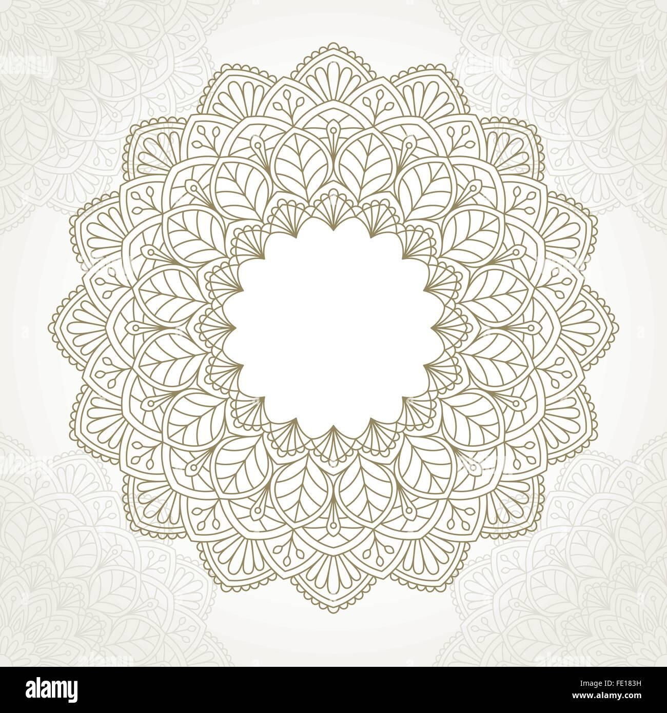 Ornamental round lace pattern. - Stock Image