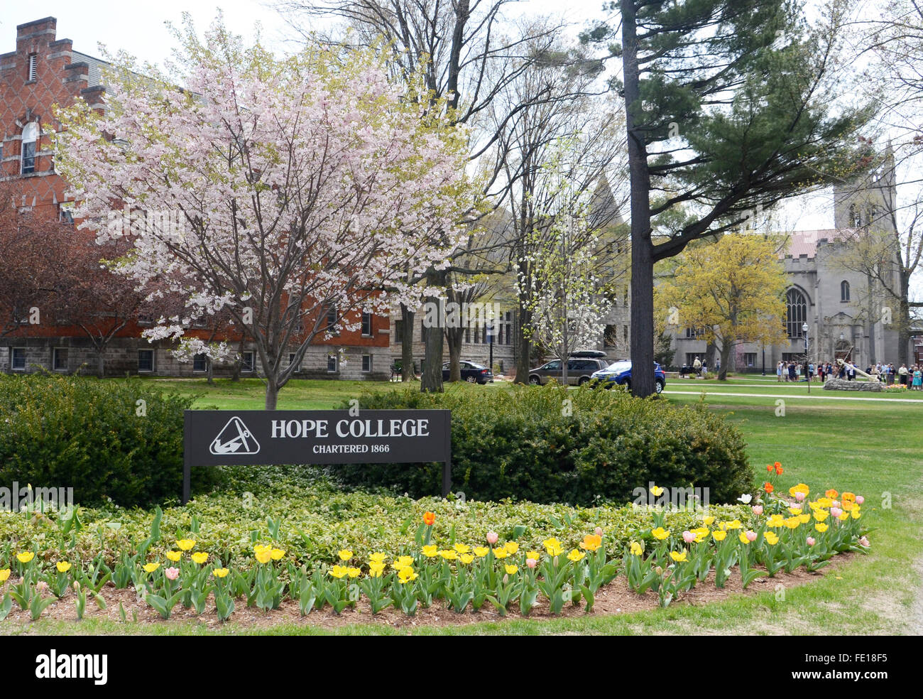 HOLLAND, MI - MAY 3: Hope College, whose campus is shown here, graduated its largest graduating class of 766 on - Stock Image