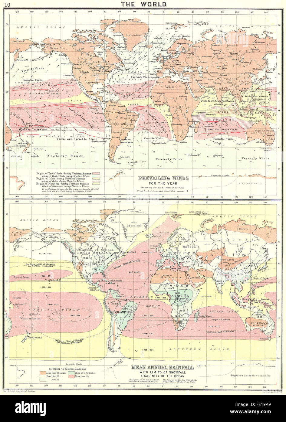 World Winds Rainfall Snowfall Salinity Ocean 1900 Antique Map