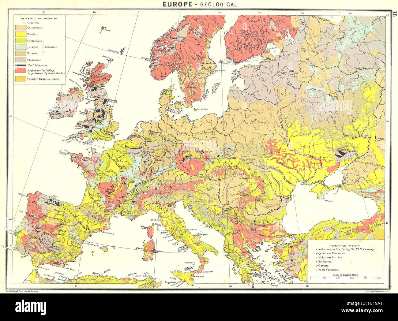 Europe Geological 1900 Antique Map Stock Photo 94686336 Alamy