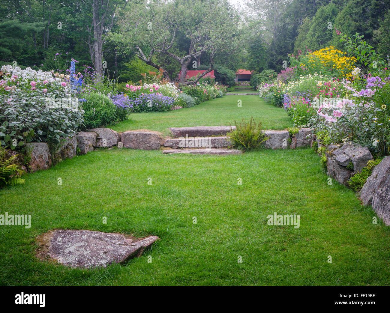 Northeast Harbor, Maine: Thuya Garden - Stock Image