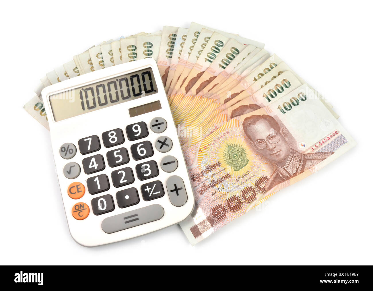 1000 baht banknotes and calculator isolated on white background - Stock Image