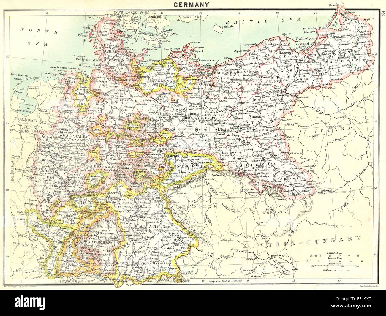 Map Of Germany 1900.Germany German Empire 1900 Antique Map Stock Photo