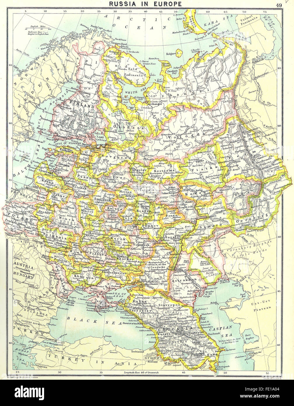 Russia European Russia 1900 Antique Map Stock Photo 94686820 Alamy