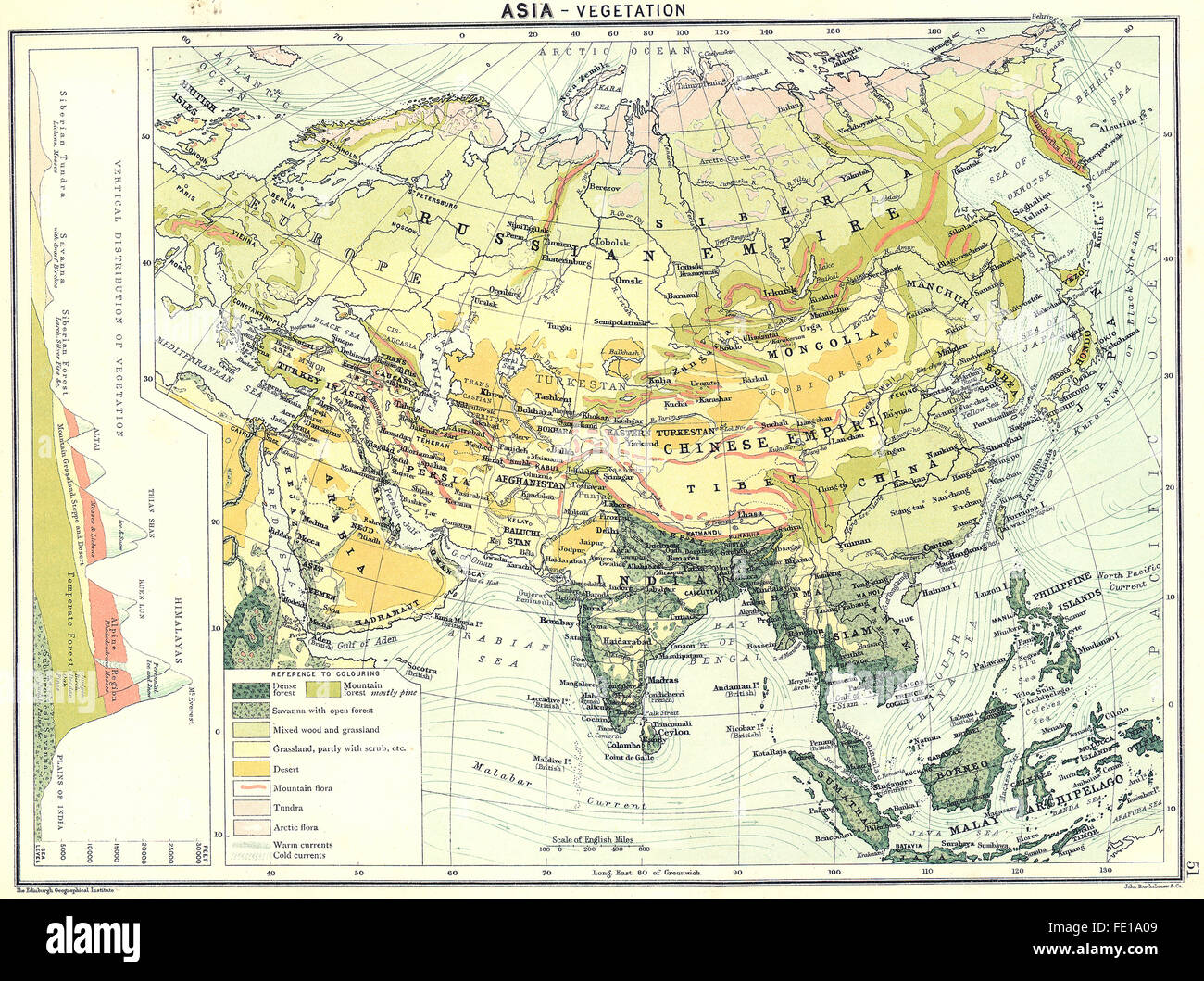 Asia Vegetation 1900 Antique Map Stock Photo 94686825 Alamy