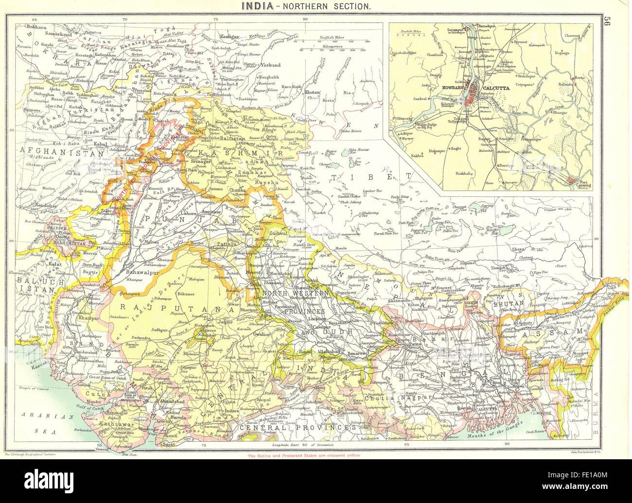 India North Howrah Kolkata 1900 Antique Map Stock Photo 94686836