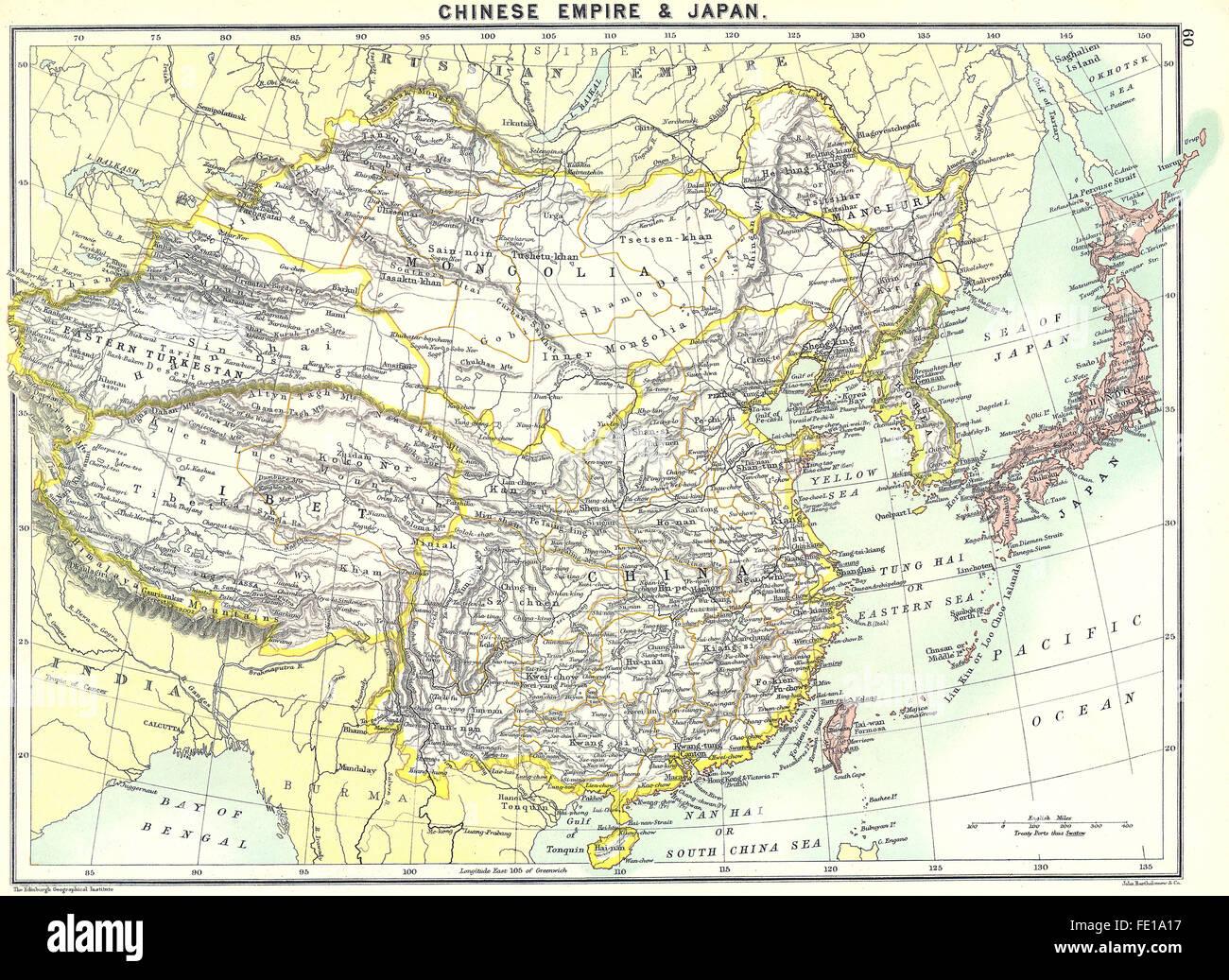 japan china 1900 antique map stock image