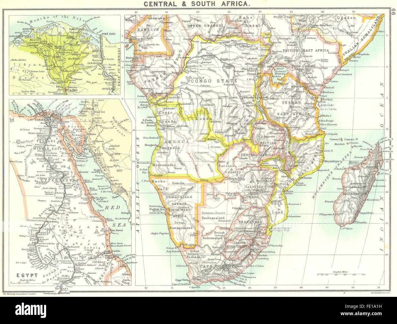SOUTH AFRICA: Central &; Cairo; Egypt, 1900 antique map Stock Photo ...